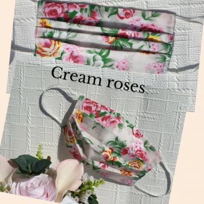 Cream roses with filter pocket face mask