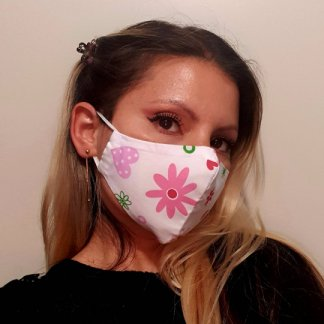 Flowers and hearts print masks with filter pocket face mask